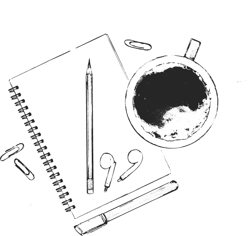 Illustration of pencils, notebook and paperclips